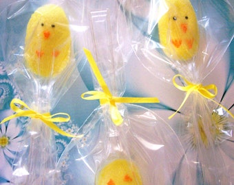 Easter Chicks Sugar Spoons (12 Spoons) Lemon Yellow Flavored Sugar Cubes