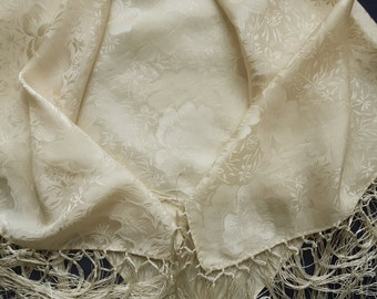 Vintage cream silk scarf