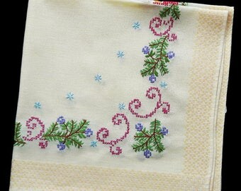 Vintage hand embroidered Christmas tablecloth