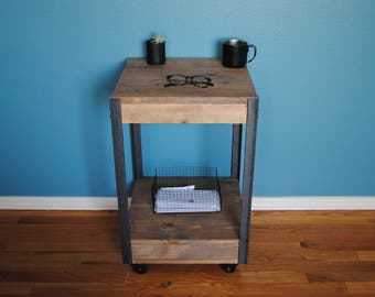 Industrial Rustic Side table, End table , Nightstand with Iron legs and Lower Shelf with Caster wheels 16.5 x 16.5 x you choose height