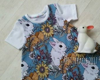 Bunny Rabbit dress. 6-12m to 5-6y. Made to order, Dress, Summer, sunflower, toddler dress, tunic, sunflowers, handmade