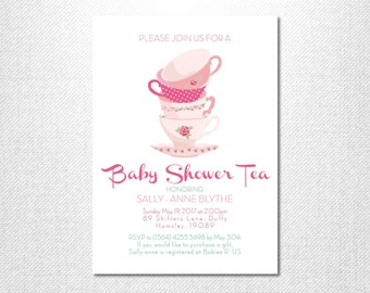 Baby Shower Tea ~ Tea Party ~ Baby Shower Invites ~ Tea Party Invitation ~ Baby Sprinkle ~ Girl Baby Shower Invitation ~ High Tea Invitation