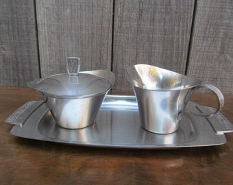 Mid Century Stainless Steel Cream and Sugar Set