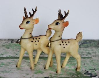 Vintage Japan Rubber Reindeer Christmas Set of 2 Reindeer Figurine