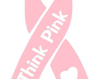 BREAST CANCER RIBBON  Vinyl Decal Awareness Choose Size and Color
