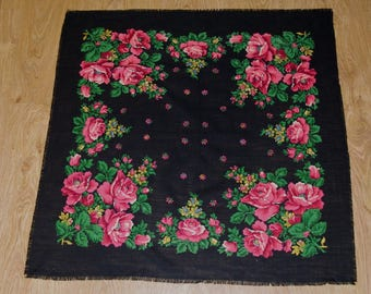 Vintage Black Scarf / Ukrainian Big Folk Shawl / Leaves Flowers Roses / Vintage Russian Floral headscarf light wool Babushka Polish shawl