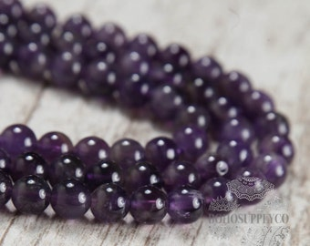 "Amethyst Quartz 8mm Beads Full Strand Semi-precious Natural Stones 15.5"" strand"