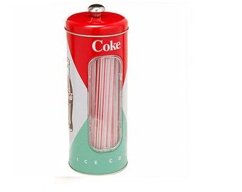 Coke Coca-Cola Straw Canister (NEW)