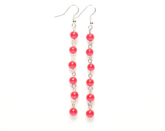 Beaded earrings,  red beaded earrings,  red earrings, beaded chain earrings,  red pearl earrings,  pearl chain earrings,  earrings