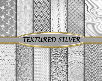Silver Foil Backgrounds - Silver Leaf Backdrops - Textured Silver Digital Paper - Sterling Silver - Shiny Pewter Metal