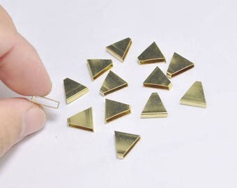 10pcs Raw Brass Triangle Pendant, Triangle Tube Bead Charm,Geometric - 10x10x3mm - D5510103