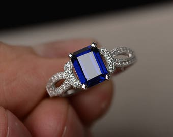 Lab Sapphire Engagement Ring Emerald Cut Gemstone Jewelry Silver Rings