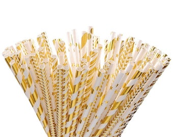 One Dozen Assorted Metallic Gold Foil Paper Drinking Straws - Hollywood - Glam - Bling - Wedding - - Birthday - Celebration & Party Supplies