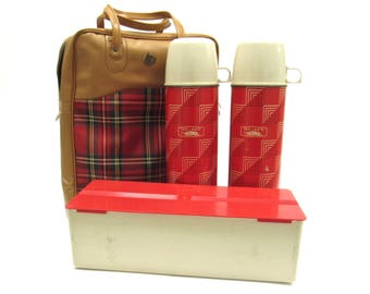 Mid Century Tartan Plaid  Thermos / Camping Carrier
