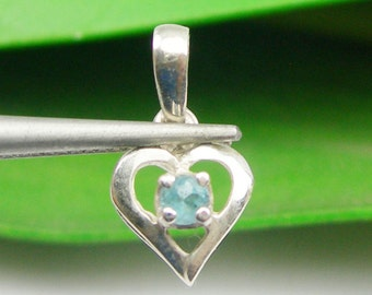 Genuine 925 Sterling Silver Small Heart Pendant With Natural Blue Topaz Gemstone - P56