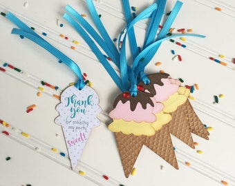 Ice Cream Cone Thank You Tags - Ice Cream Party Tags - Handmade
