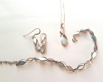 Pink and Blue Sterling Jewelry set
