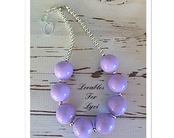 Purple Lavender Bubblegum Necklace Adjustable Chunky Baby Toddler Girls