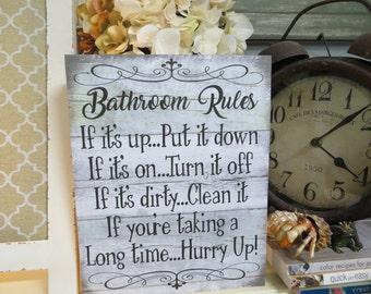 Bathroom Signs Rules bathroom rules sign | etsy