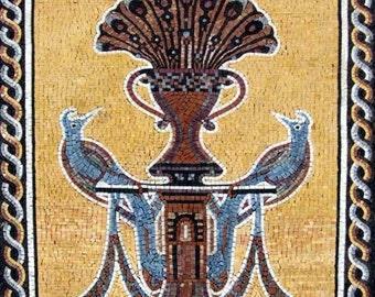 Mosaic Peafowls Wall Art