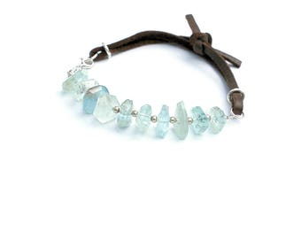 Aquamarine Nugget Bracelet, Suede Yoga Bracelet, Gemstone Stacking Bracelet, Chunky Blue Nugget Bracelet, Leather Bracelet