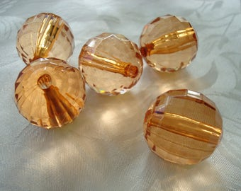 8 Giant Peachy-Orange Checkerboard Faceted Acrylic Ball Beads. Great for Suncatcher or Boho Earrings. Supply Limited! USPS Ship Rates/Oregon