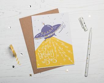 UFO cosmic birthday - Screen Printed Greetings Card
