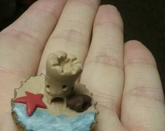 Tiny sand castle (polymer clay)