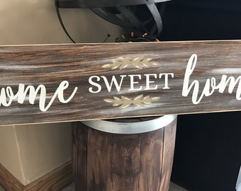 Home Sweet Home Rustic Country Fixer Upper Style Farmhouse Wood Sign 30 inches long!