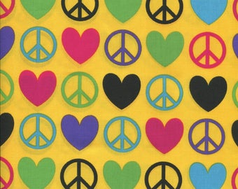 Groovy Peace Signs and Love Hearts Yellow Fabric