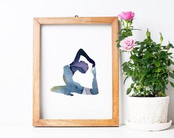 Yoga pose art - yoga position watercolor - Art Print -  purple blue Yoga painting - Buddhism Meditation room art - Yoga decor wall art