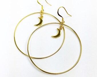 18k Gold Vermeil Light Weight Crescent Moon Hoops