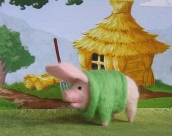 Piggy #1 Wool Needle Felted Three Little Pigs - Tammy Swinette in her fancy sweater. Cute 4 Nursery shelf sitter.