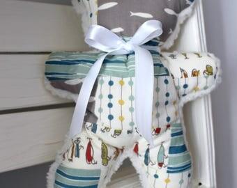 Teddy Bear~ Plush toy, Woodland Nursery Decor, Handmade Teddy Bear, Rustic, Tan, Minky, Stuffed Animal,Organic Baby Toy,Baby Boy Gift Unique