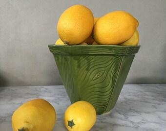 Vintage Faux Bois Ceramic Planter, China Craft Planter | green woodgrain flower pot, indoor planter, green flower pot, ceramic plant pot