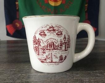 Vintage Jamestown VA Coffee Mug, Diner Coffee Mug, Coffee Cup, red transferware, made in USA, souvenir mug, colonial decor, transferware mug