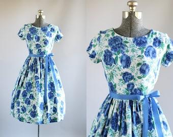 Vintage 1950s Dress / 50s Cotton Dress / St Michael Blue and Green Floral Dress w/ Waist Tie S