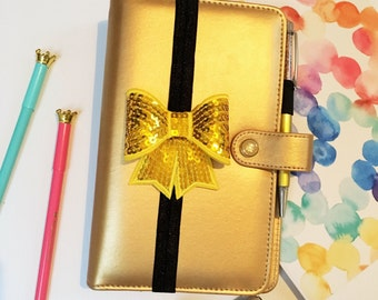 Planner Band, Gold Sequin Bow