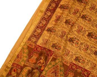 Antique Silk Saree Scarf Vintage Beautiful Silk Sari Stole Women Shawl Hand Printed Silk Sarong Curtain Drape PSS2533