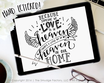 Heaven SVG Cut File, Because Someone We Love Is In Heaven, Heaven In Our Home, Silhouette Cutting File, Cricut Download, Angel SVG Cut File