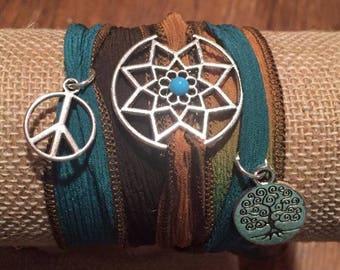 Silk Wrap Charm Bracelet