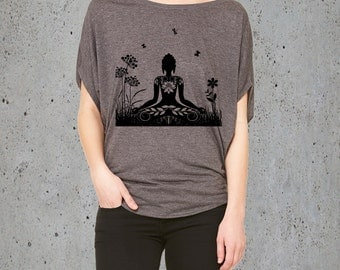Yoga T Shirt-(Womens ZEN BUDDHA Shirt )Yoga Tunic,Yoga Clothes,Meditation Clothing-Flowy Shirt,Gift For Her-Girlfriend Gift-Tunic Shirt-