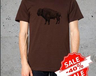 Sale! Mens BUFFALO BISON Head T Shirt)T-shirt Bohemian Clothing,Native American Apparel,Boyfriend Gift-Mens Graphic Tees-Birthday Gifts