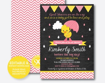 Instant Download, Editable Rubber Duck Baby Shower Invitation, Rubber Duck Invitation, Duck Invitation, Girl Baby Shower, Chalkboard(CBS.35)