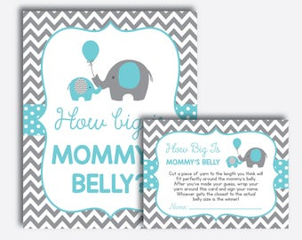 Instant Download, Elephant How Big Is Mommy's Belly Game, Belly Guessing Game, Elephant Baby Shower Games, Aqua Blue Gray Chevron (SBS.42)