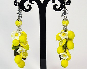 Lemon Earrings Polymer clay jewelry Gift for girlfriend Handmade jewelry Yellow citrus jewellery Fruit earrings