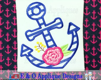 Anchor Flower Applique Design - Anchor Applique Design - Nautical Applique Design - Anchor Embroidery Design - Digital Design