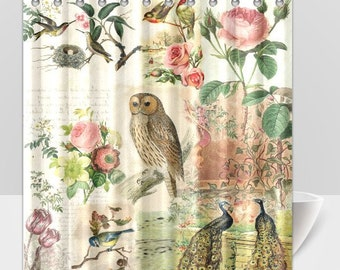 Shabby Chic Shower Curtain Vintage Botanical Birds and Owl Shabby Chic Shower Curtain