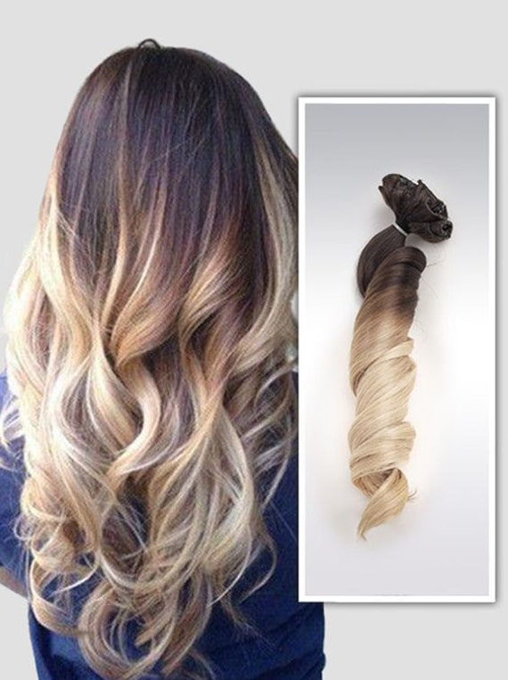 Full head dip dye clip in hair extensions ombre dark brown to like this item pmusecretfo Choice Image