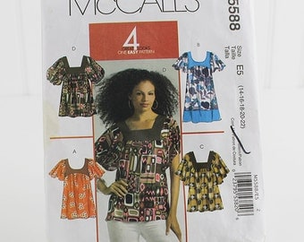 Misses Tops and Tunics, Uncut Sewing Pattern, McCalls 5588, Size 14-22